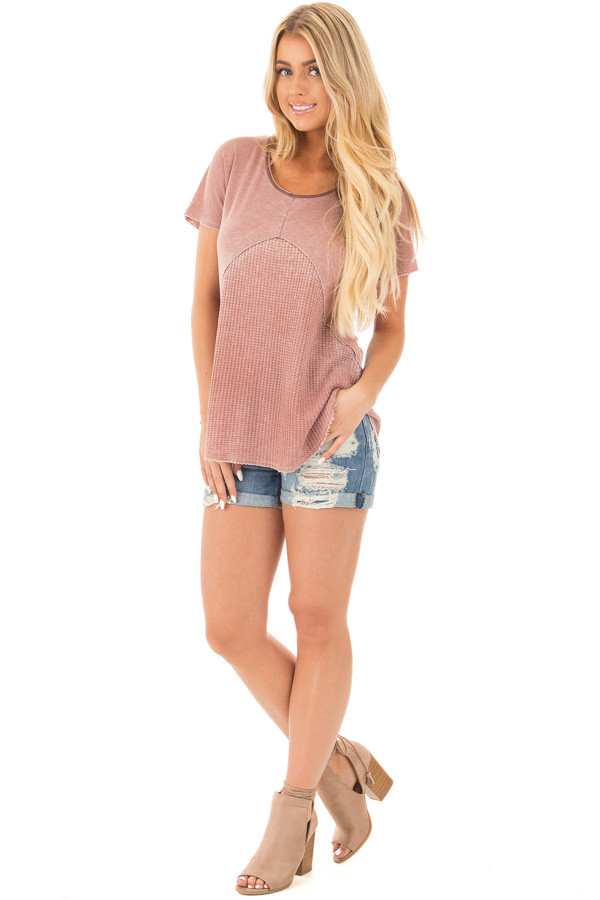 Denim Destroyed Boyfriend Shorts with Cuffed Hem front full body