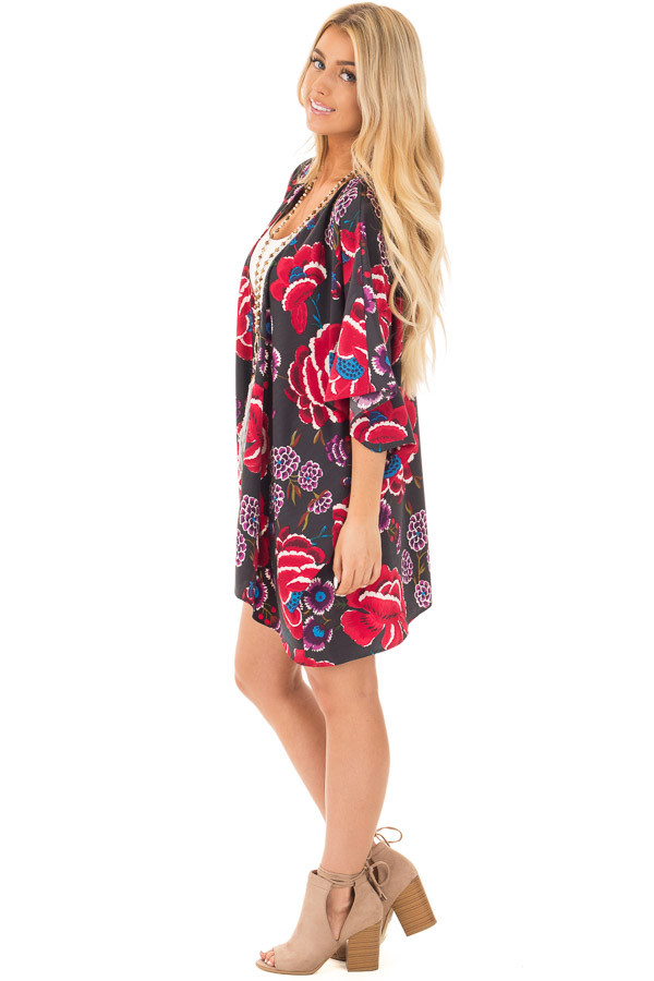 Charcoal and Burgundy Floral Print Short Sleeve Kimono side full body