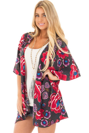 Charcoal and Burgundy Floral Print Short Sleeve Kimono front close up