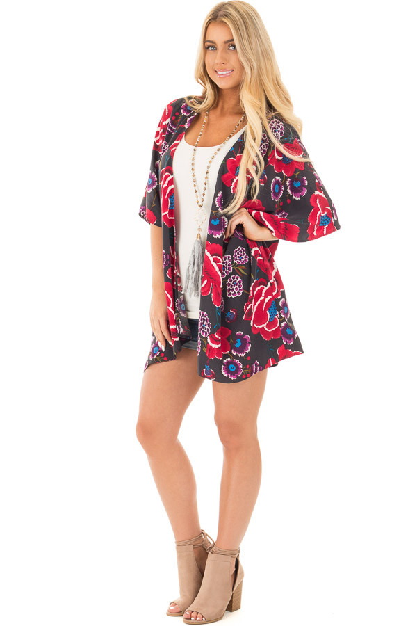 Charcoal and Burgundy Floral Print Short Sleeve Kimono front full body