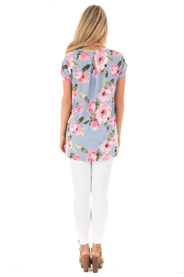 Baby Blue and Blush Floral Print V Neck Tee back full body