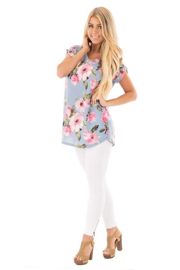 Baby Blue and Blush Floral Print V Neck Tee front full body