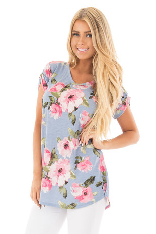 Baby Blue and Blush Floral Print V Neck Tee front close up