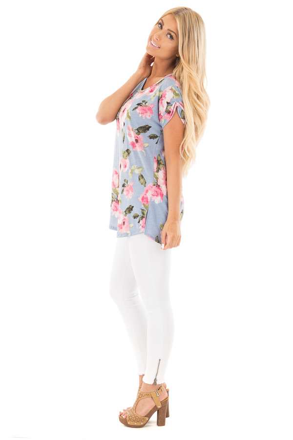 Baby Blue and Blush Floral Print V Neck Tee side full body