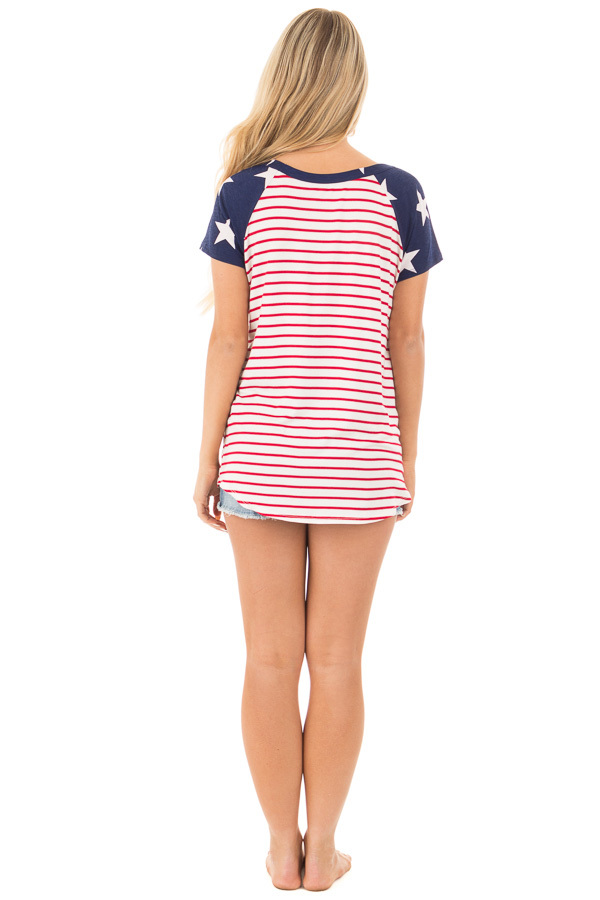 American Flag Print Baseball Tee with Front Breast Pocket back full body