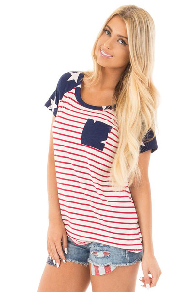 American Flag Print Baseball Tee with Front Breast Pocket front close up