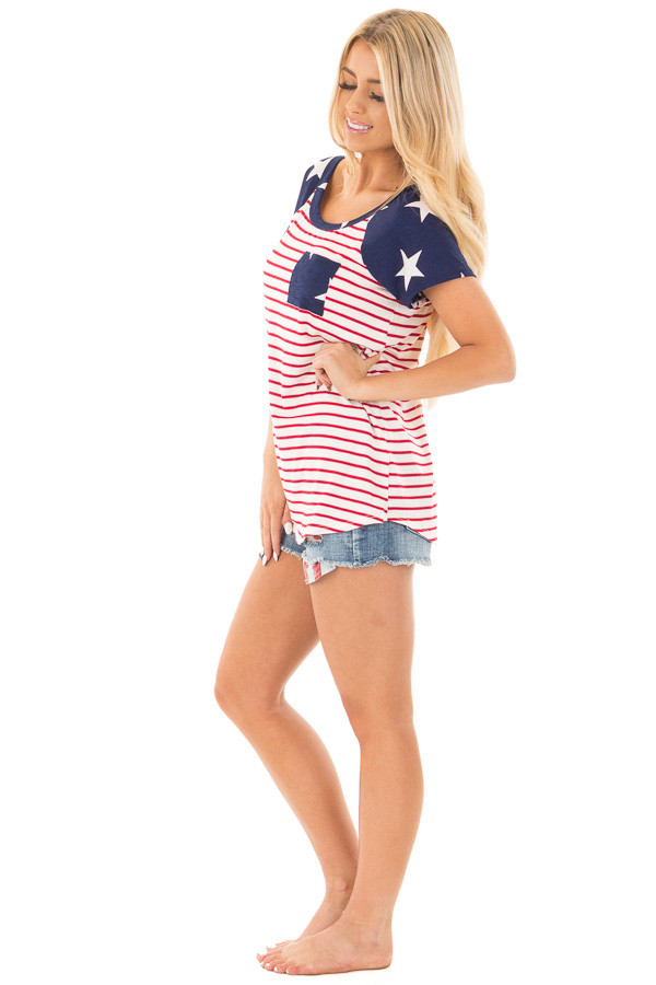 American Flag Print Baseball Tee with Front Breast Pocket side full body