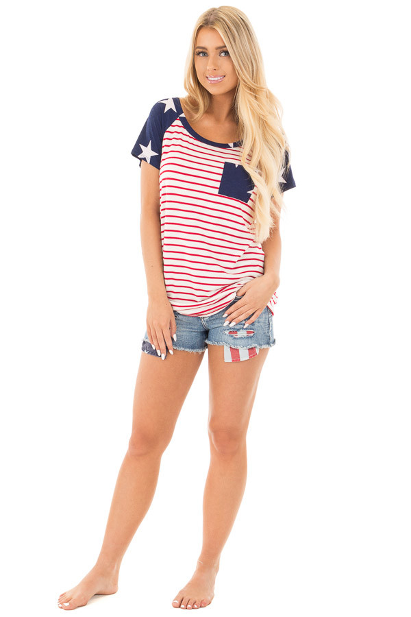 American Flag Print Baseball Tee with Front Breast Pocket front full body