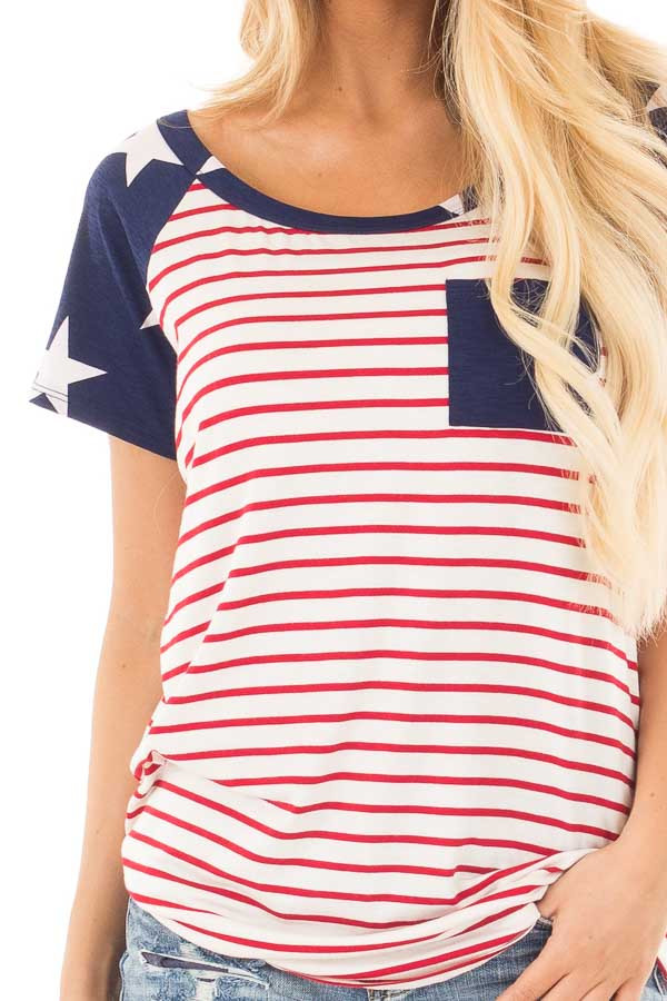 American Flag Print Baseball Tee with Front Breast Pocket detail