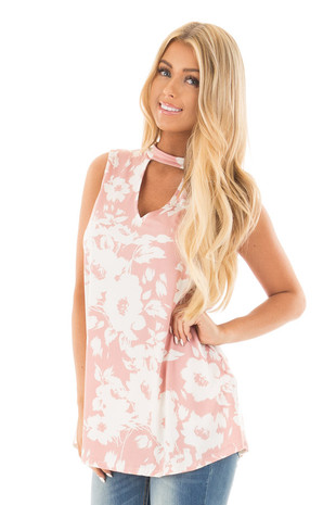 Dusty Blush Floral Print Tank with Key Hole V Neck front close up