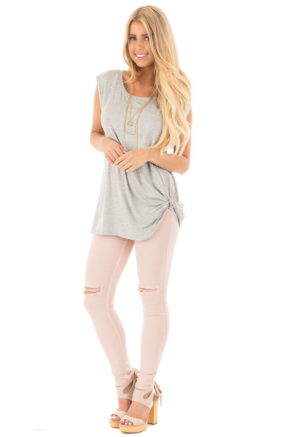 Heather Grey Sleeveless Top with Twist Detail front full body