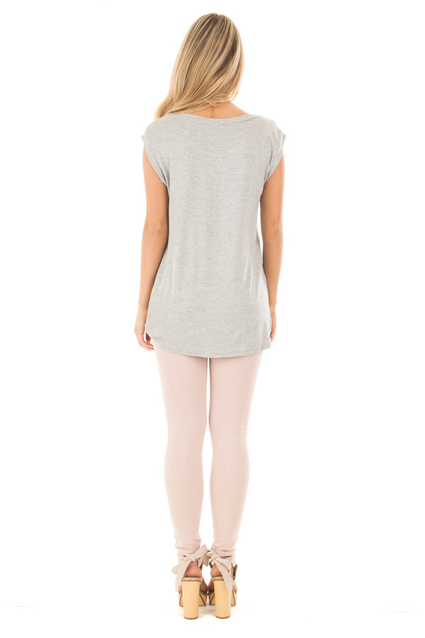 Heather Grey Sleeveless Top with Twist Detail back full body