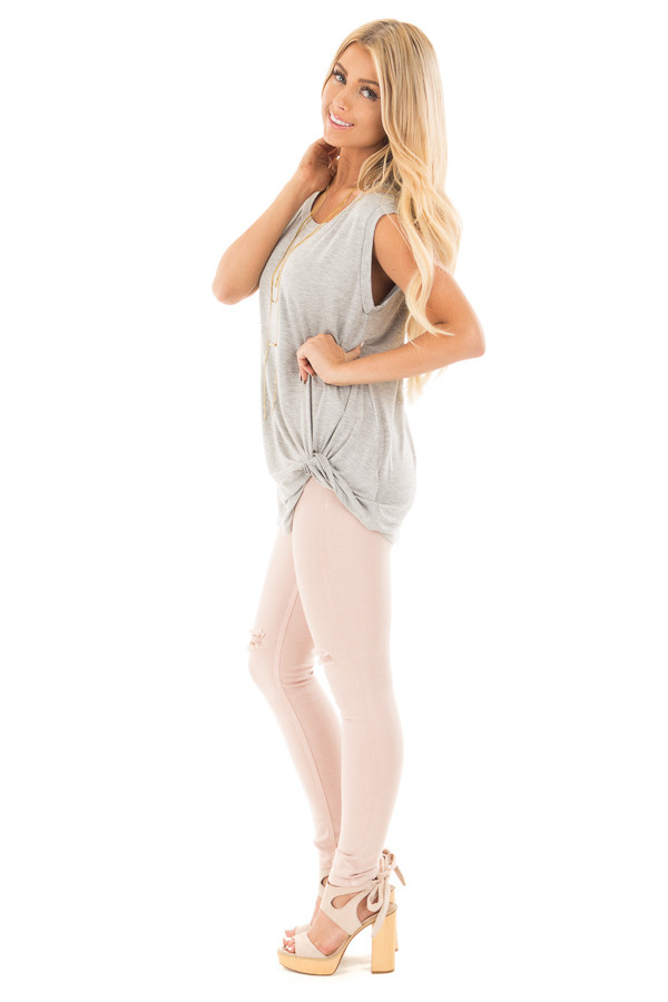 Heather Grey Sleeveless Top with Twist Detail side full body
