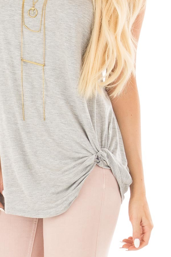 Heather Grey Sleeveless Top with Twist Detail front detail