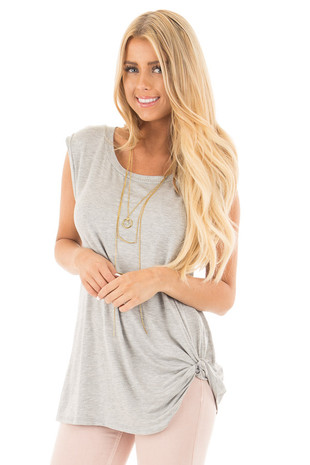 Heather Grey Sleeveless Top with Twist Detail front close up