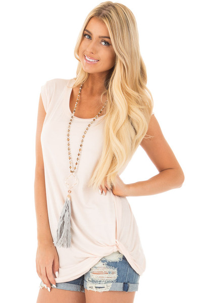 Blush Sleeveless Top with Twist Detail front close up