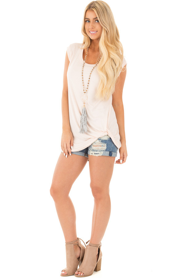 Blush Sleeveless Top with Twist Detail front full body