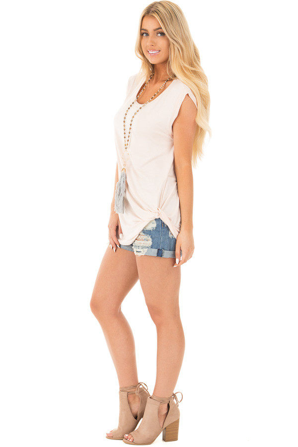 Blush Sleeveless Top with Twist Detail side full body