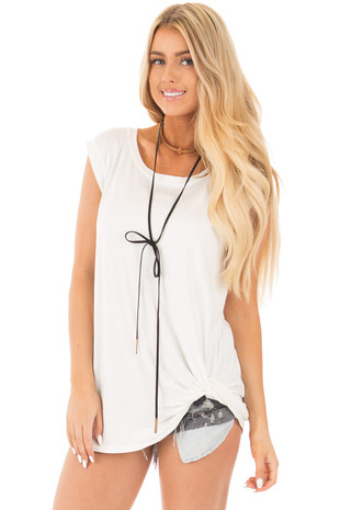 Off White Sleeveless Top with Twist Detail front close up