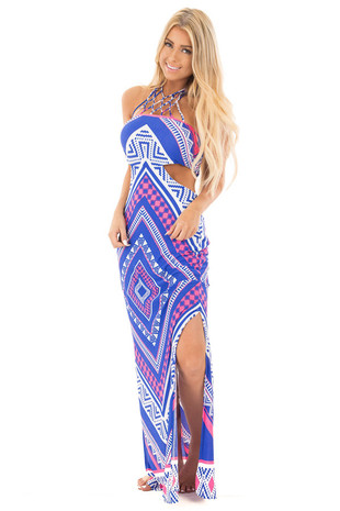 Multicolor Dress with Cut Out Sides and Caged Halter Neck front full body