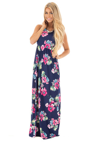 Navy Slinky Floral Racerback Maxi Dress with Hidden Pockets front full body
