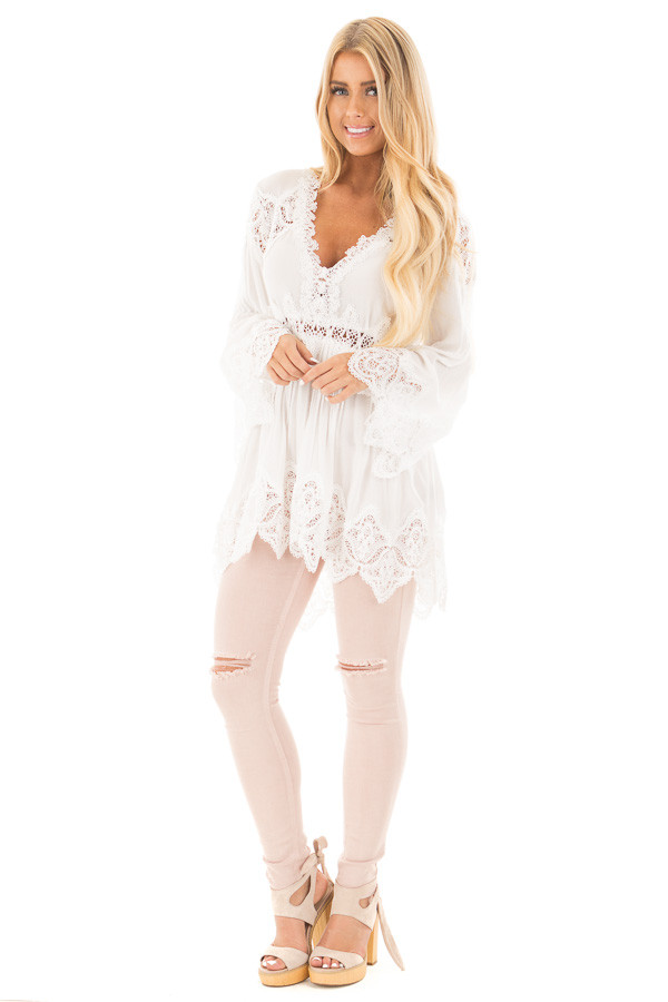 Ivory Scallop Edged Crochet Detailed High-Low Tunic Top front full body