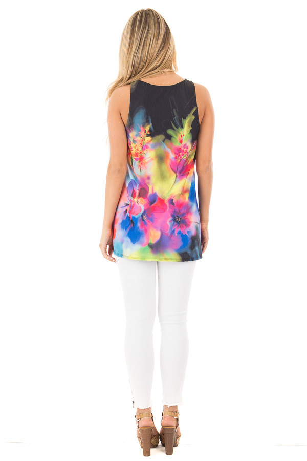 Black Tank with Bright Watercolor Floral Print back full body