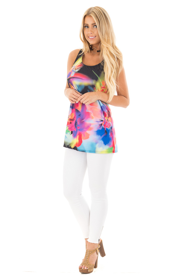 Black Tank with Bright Watercolor Floral Print front full body