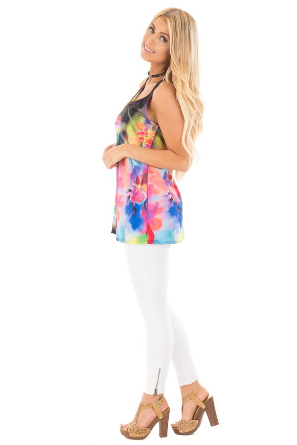 Black Tank with Bright Watercolor Floral Print side full body