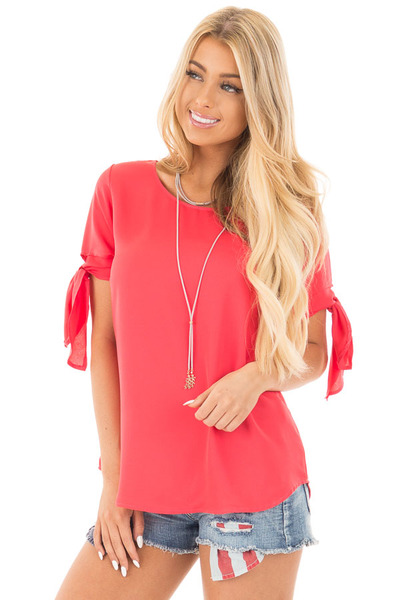 Coral Chiffon Round Neck Top with Tie Sleeve Detail front close up