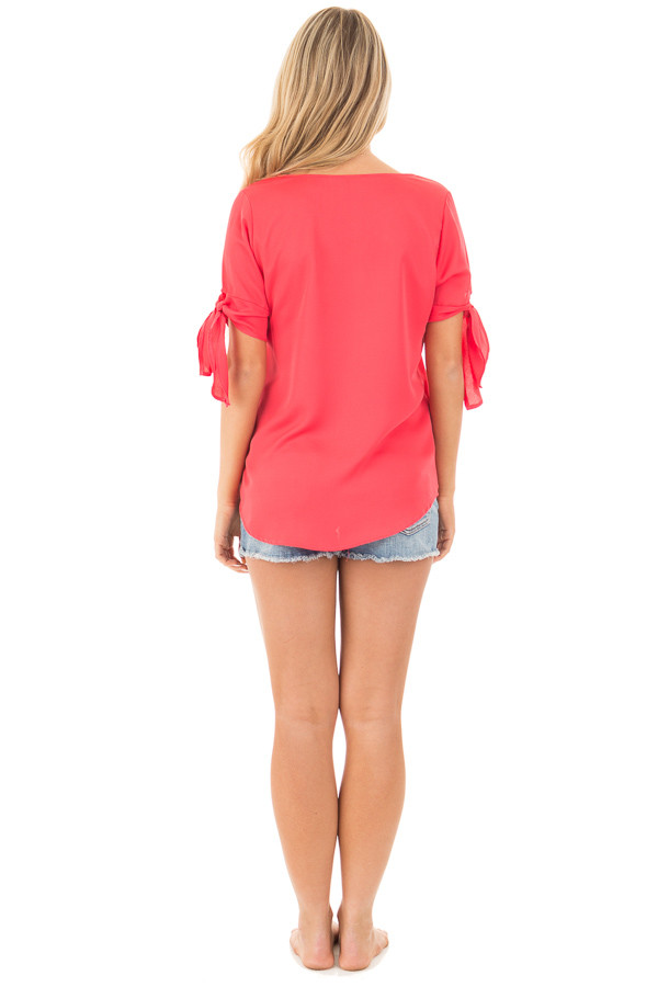 Coral Chiffon Round Neck Top with Tie Sleeve Detail back full body