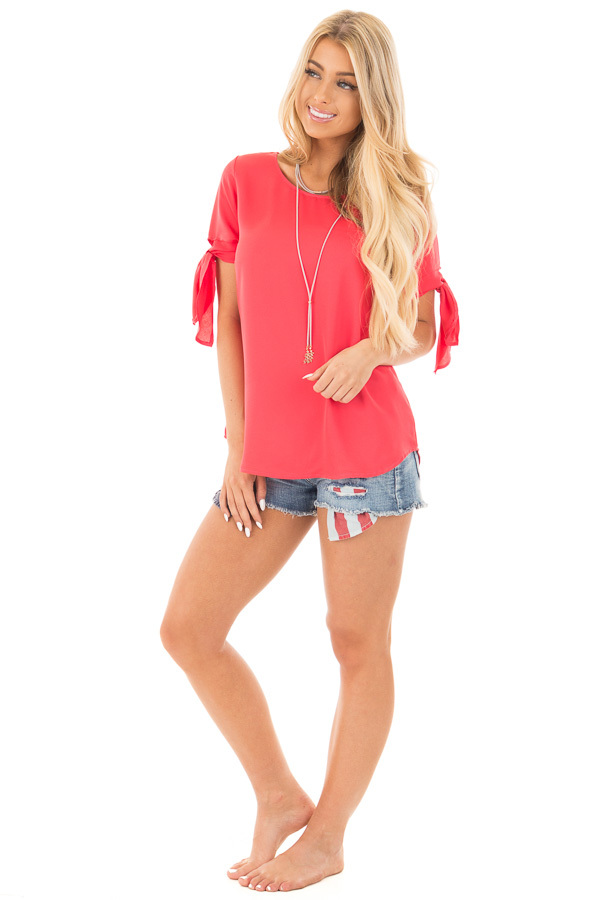 Coral Chiffon Round Neck Top with Tie Sleeve Detail front full body