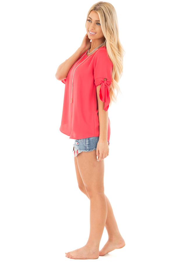 Coral Chiffon Round Neck Top with Tie Sleeve Detail side full body
