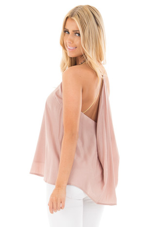 Dusty Pink V Neck Top with Metallic Spaghetti Straps side close up
