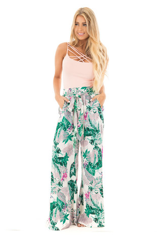 Jade and Lavender Tropical Wide Leg Pants with Waist Tie  front full body