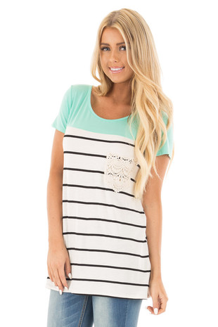 Mint Color Block and Stripe Mix Top with Lace Crochet Pocket front close up