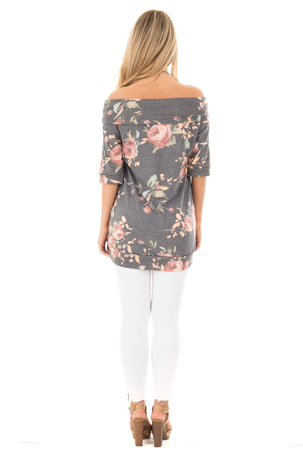 Charcoal Floral Off the Shoulder 3/4 Sleeve Top back full body