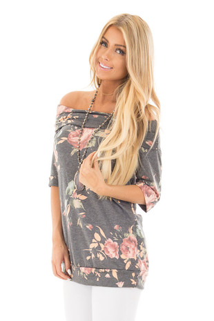 Charcoal Floral Off the Shoulder 3/4 Sleeve Top front close up