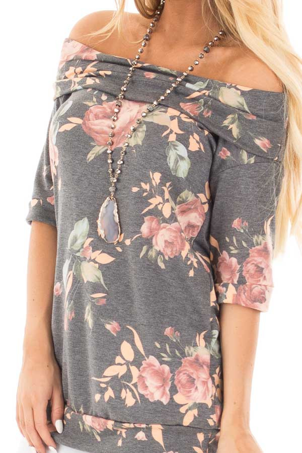 Charcoal Floral Off the Shoulder 3/4 Sleeve Top front detail