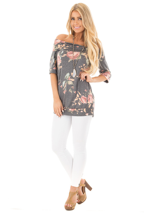 Charcoal Floral Off the Shoulder 3/4 Sleeve Top front full body
