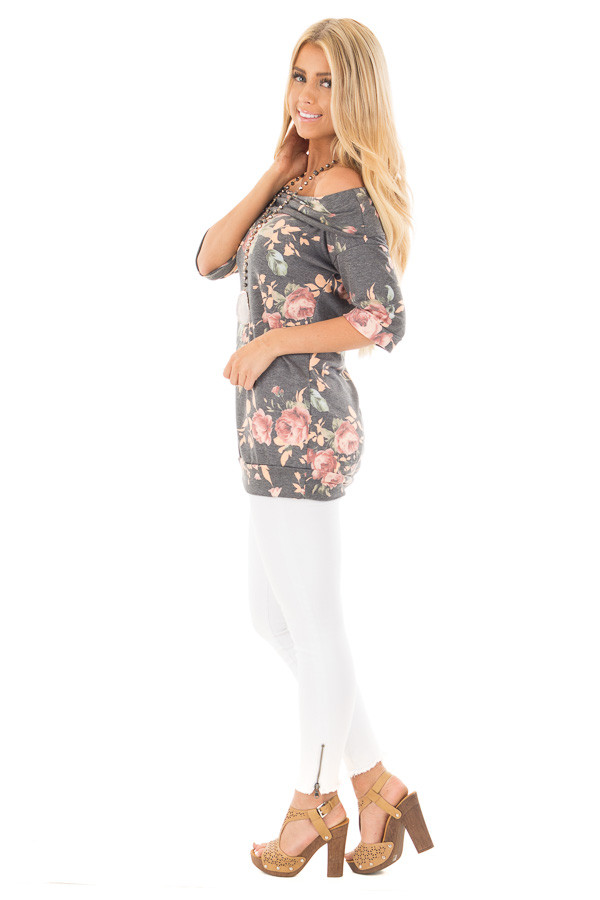 Charcoal Floral Off the Shoulder 3/4 Sleeve Top side full body