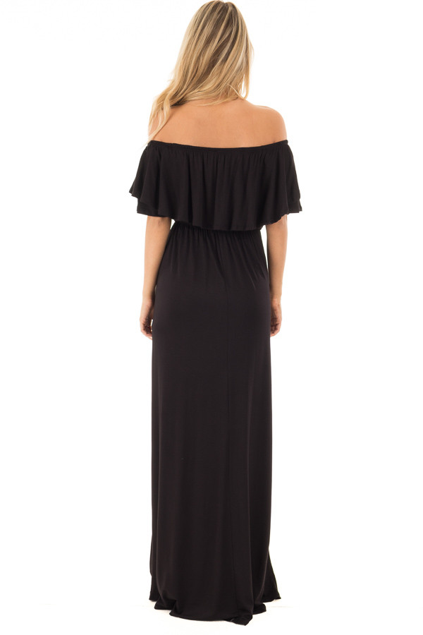 Black Off Shoulder Maxi Dress with Overlay Detail back full body