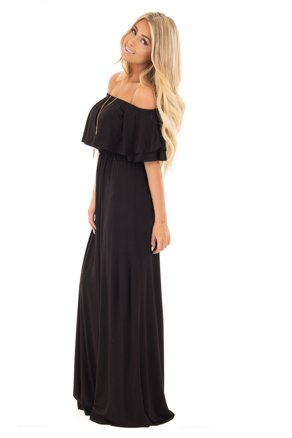 Black Off Shoulder Maxi Dress with Overlay Detail side full body