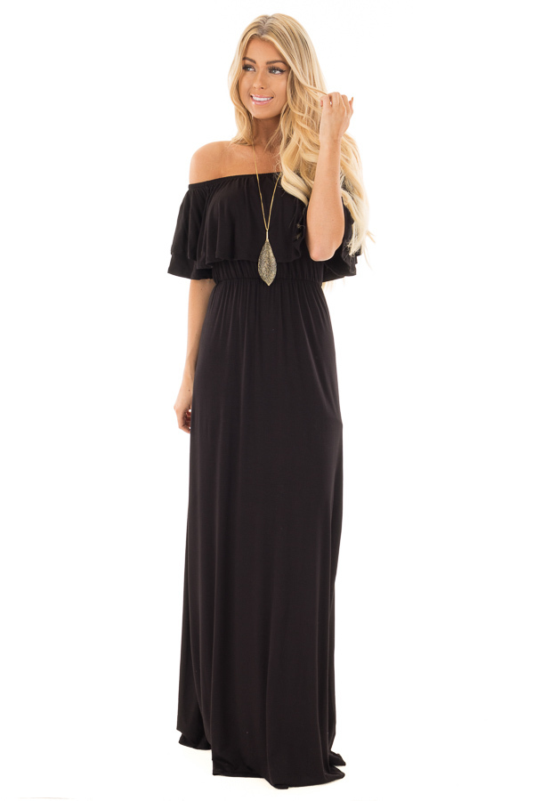 Black Off Shoulder Maxi Dress with Overlay Detail front full body