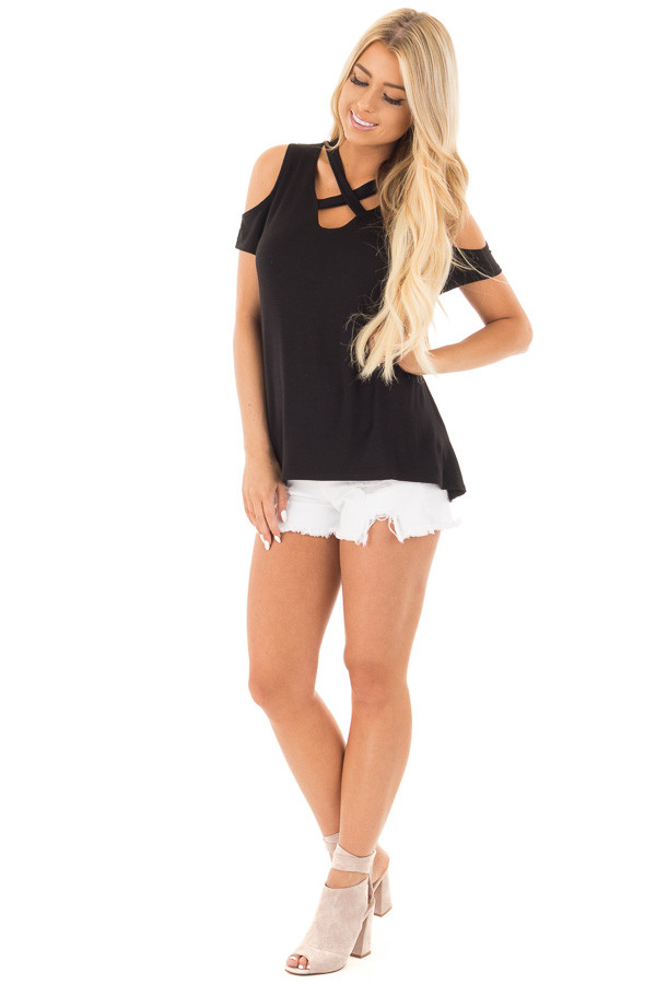 Black Criss Cross Top with Cold Shoulder Cap Sleeves front full body