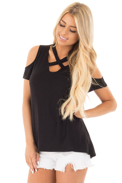 Black Criss Cross Top with Cold Shoulder Cap Sleeves front close up