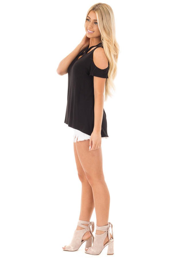 Black Criss Cross Top with Cold Shoulder Cap Sleeves side full body