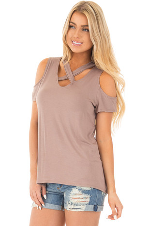 Mocha Criss Cross Top with Cold Shoulder Cap Sleeves front close up