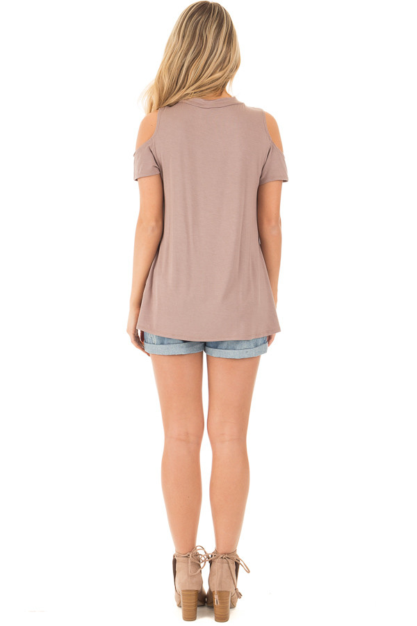 Mocha Criss Cross Top with Cold Shoulder Cap Sleeves back full body