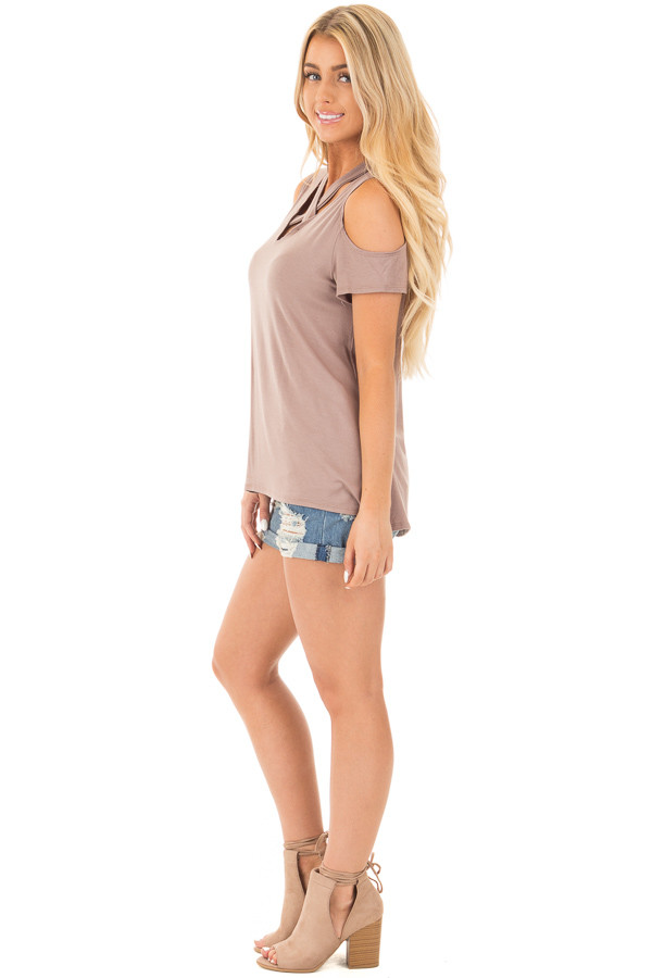 Mocha Criss Cross Top with Cold Shoulder Cap Sleeves side full body